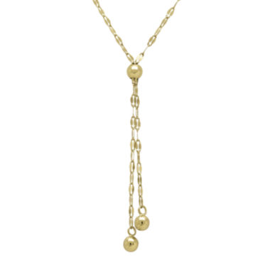 jcpenney.com | 14K Yellow Gold Lariat with Double Strand Bead Necklace