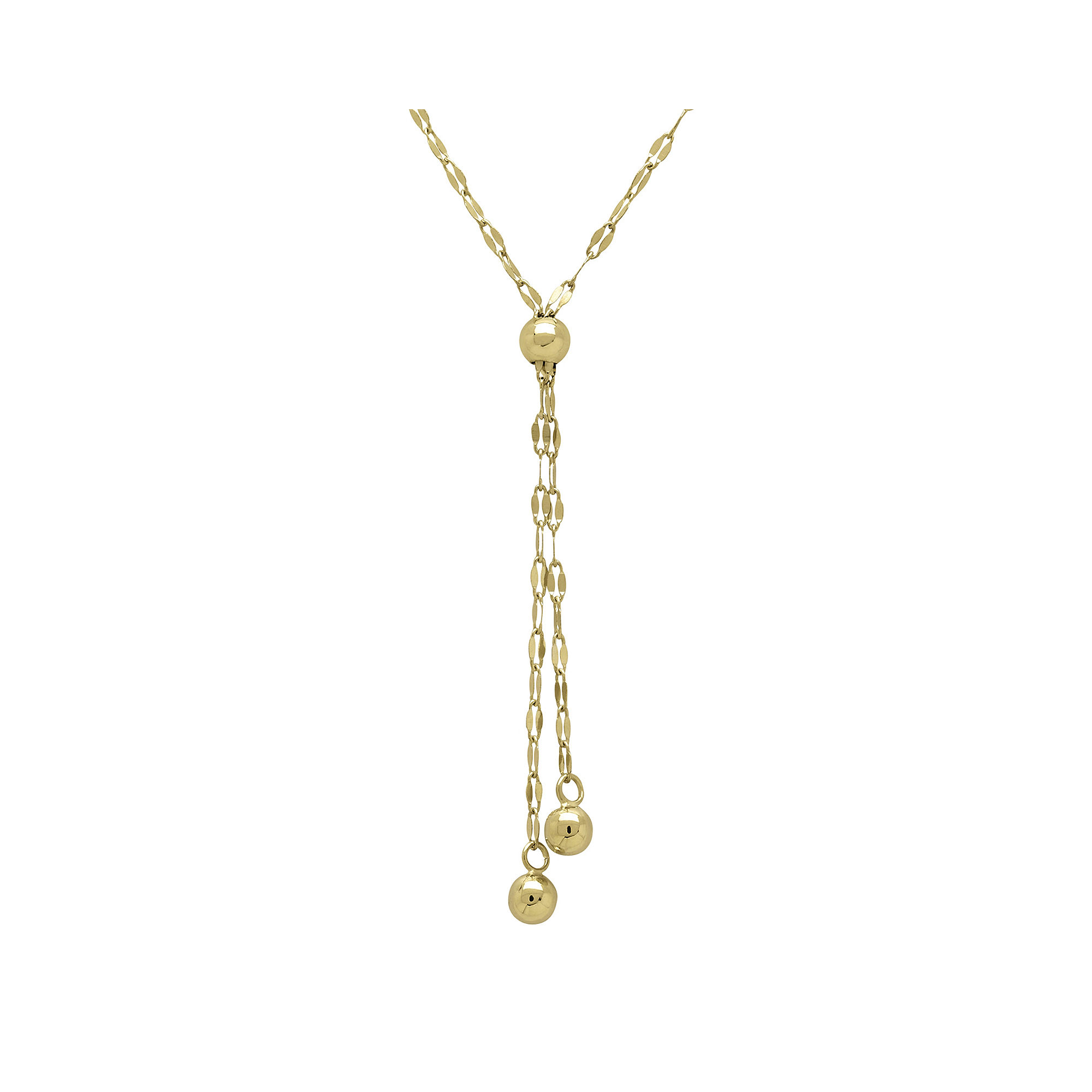 14K Yellow Gold Lariat with Double Strand Bead Necklace