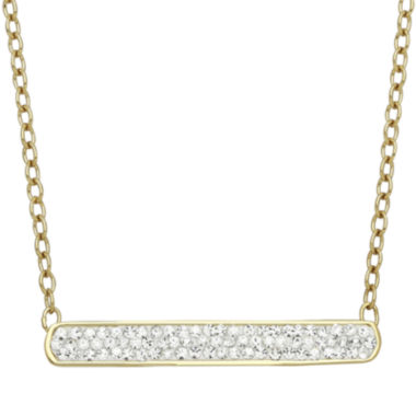 jcpenney.com | 14K Yellow Gold Over Silver Crystal Bar Necklace