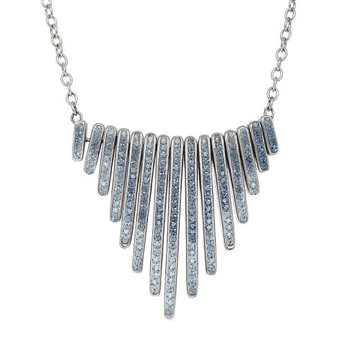 Blue Crystal Sterling Silver Graduating Bar Necklace