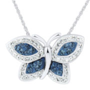 White and Blue Crystal Butterfly Pendant Necklace