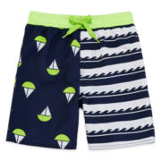 Arizona Striped Sail Boat Swim Trunks - Toddler Boys 2t-5t