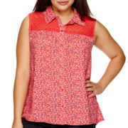 Arizona Sleeveless Split-Back Lace-Inset Top - Juniors Plus