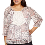 Arizona 3/4-Sleeve Lace-Inset Pintuck Woven Top - Juniors Plus