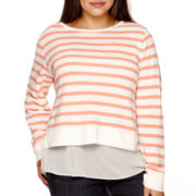 Arizona Long-Sleeve Layered Sweatshirt - Juniors Plus