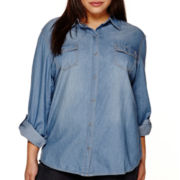 Arizona Long-Sleeve Denim Shirt- Juniors Plus