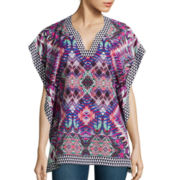 Bisou Bisou® 3/4-Sleeve Printed Kaftan Top