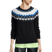 a.n.a® Long-Sleeve Fairisle Pullover Sweater-Petites