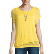 Alyx® Short-Sleeve Shadow Stripe Knit Top with Necklace