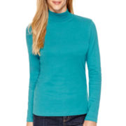 St. John's Bay® Long-Sleeve Mockneck T-Shirt