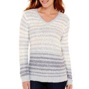 Liz Claiborne® Long-Sleeve V-Neck Striped Sequin Sweater