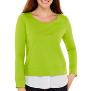 Liz Claiborne® Long-Sleeve Layered Sweatshirt