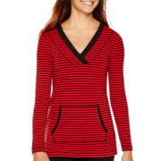 Liz Claiborne® Long-Sleeve Kangaroo-Pocket Striped Tunic