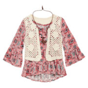 Beautees Peasant Top, Crochet Vest and Necklace - Girls 7-16