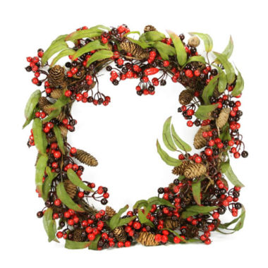 "jcpenney.com | 24"" Unlit Red and Black Berry and Pine Cone Artificial Christmas Wreath"