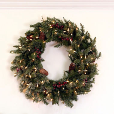"jcpenney.com | 30"" Pre-Lit Frosted Edina Fir Artificial Christmas Wreath with Clear Lights"