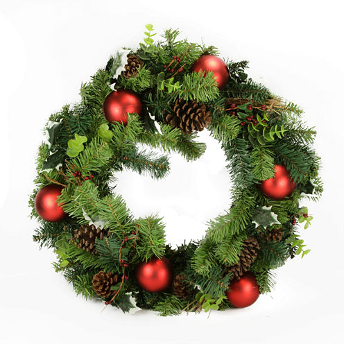 """24"""" Unlit Pre-Decorated Pine Cone and Eucalyptus Artificial Christmas Wreath"""