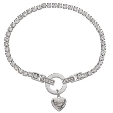 jcpenney.com | Sparkle Allure Womens White Crystal Silver Over Brass Charm Bracelet