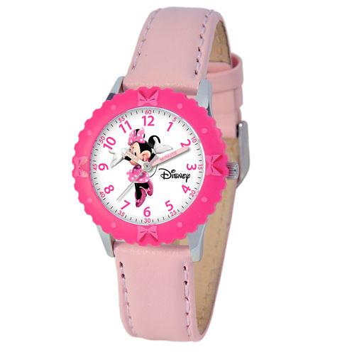 Disney Minnie Mouse Girls Pink Strap Watch-W000028