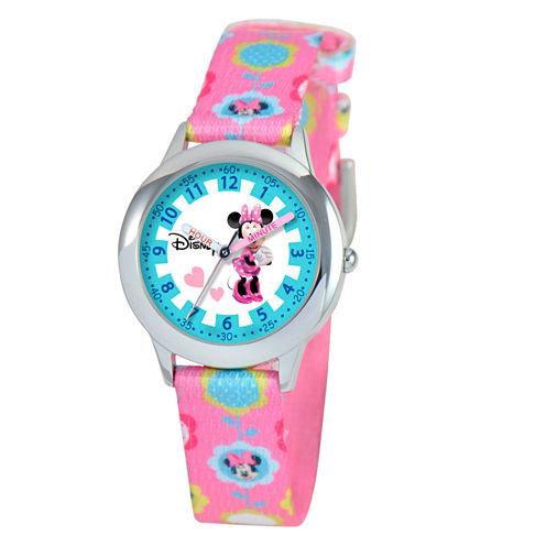 Disney Minnie Mouse Girls Pink Strap Watch-W000041