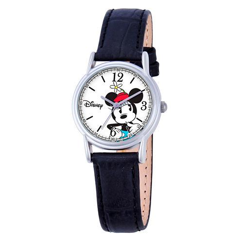 Disney Minnie Mouse Womens Black Strap Watch-W000548