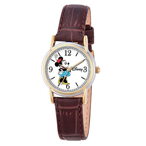 Disney Minnie Mouse Womens Brown Strap Watch-W000552