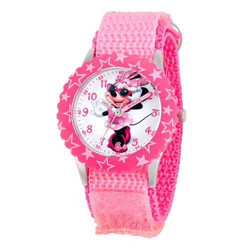 Disney Minnie Mouse Girls Pink Strap Watch-W001575