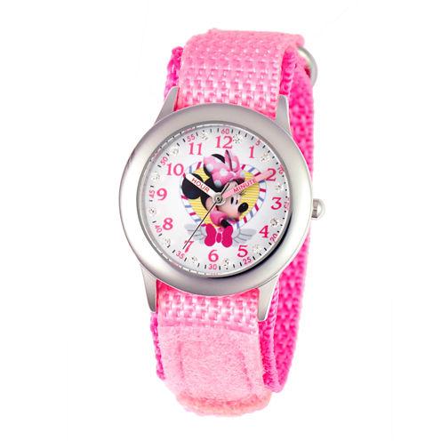 Disney Minnie Mouse Girls Pink Strap Watch-W001577