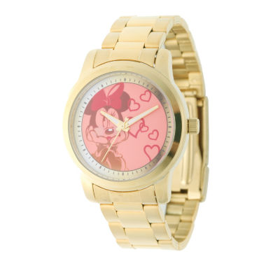 jcpenney.com | Disney Minnie Mouse Womens Gold Tone Strap Watch-W001825