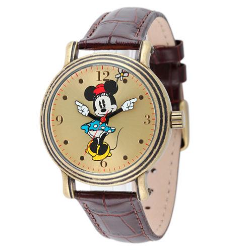 Disney Minnie Mouse Womens Brown Strap Watch-W001876