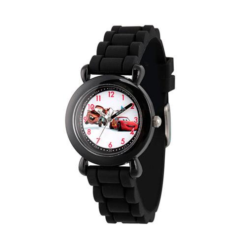 Disney Cars Boys Black Strap Watch-Wds000001