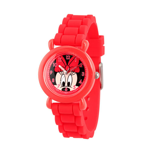Disney Minnie Mouse Girls Red Strap Watch-Wds000009
