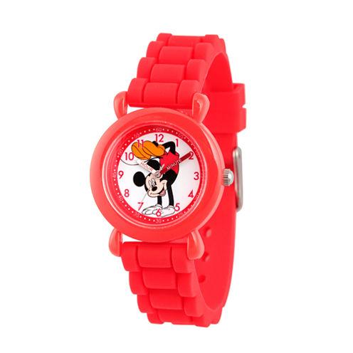 Disney Minnie Mouse Girls Red Strap Watch-Wds000010