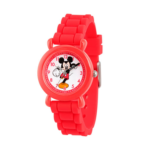 Disney Mickey Mouse Boys Red Strap Watch-Wds000013