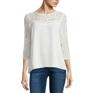 jcpenney.com | Decree Lace Yoke Swing Top-Juniors