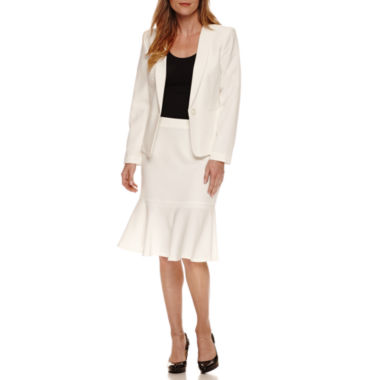 jcpenney.com | Black Label by Evan-Picone Long Sleeve Jacket with Flutter Hem Skirt