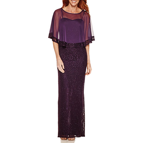 One by Eight Sleeveless Lace Popover Cape Evening Gown