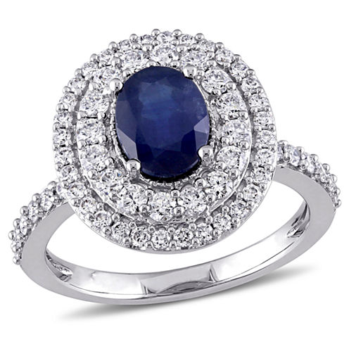 Womens Blue Sapphire 14K Gold Engagement Ring