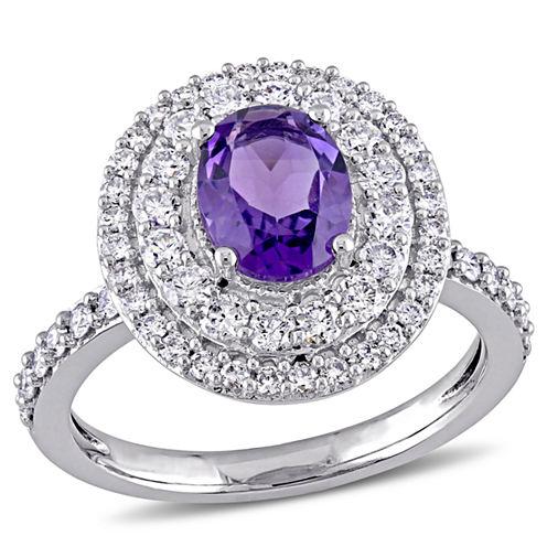 Womens Purple Amethyst 14K Gold Engagement Ring