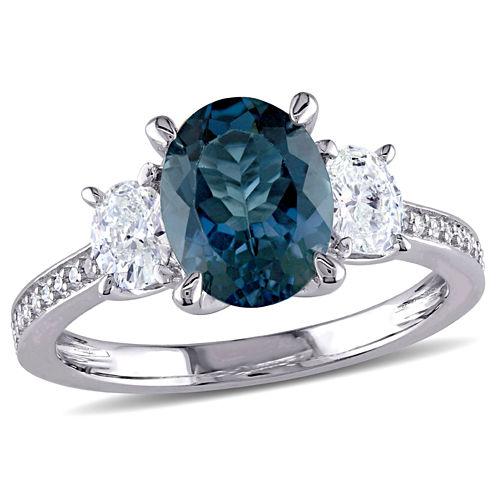 Womens Genuine Blue Topaz 14K Gold Engagement Ring