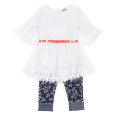 jcpenney.com | Little Lass Girls 2-Pc. White Gauze Top With Denim Set