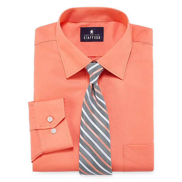Stafford travel easy care dress shirt and tie set jcpenney for Stafford dress shirts fitted