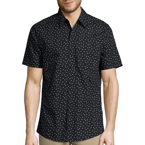 Haggar Short Sleeve Micrographic Print Shirt