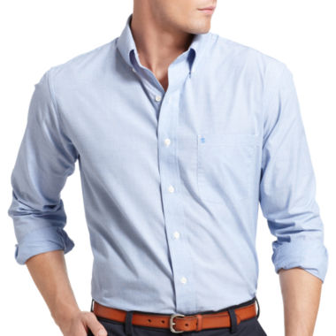 jcpenney.com | Izod Essential End on End Solid Long Sleeve Button-Front Shirt