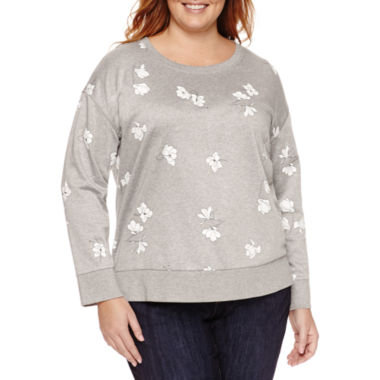 jcpenney.com | Liz Claiborne Long Sleeve Crew Neck T-Shirt-Plus