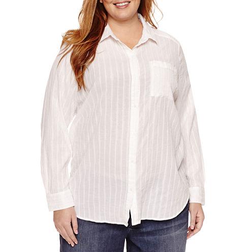 Liz Claiborne Long Sleeve Button Front Lurix Tunic Top Plus