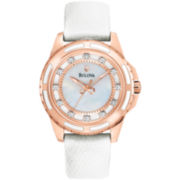 Bulova Women's Round Goldtone Mother-Of-Pearl Strap Watch
