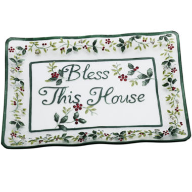 jcpenney.com | Pfaltzgraff® Winterberry Bless This House Clear Glass Platter