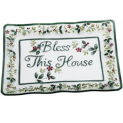 Pfaltzgraff® Winterberry Bless This House Glass Platter