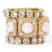 Faux Pearl and Crystal Stackable 3-pc. Stretch Ring Set